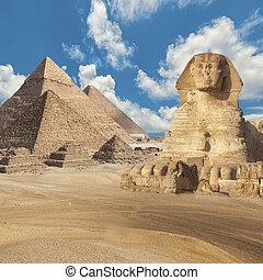 vista, pirámides, esfinge, general