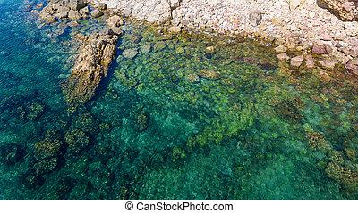 vista, playa, bishpo., aerial., ingrina, cielo, portugal,...