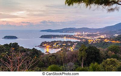 vista, playa, noche, punto, karon, kata, phuket, paisaje