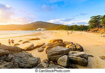 vista, playa, paisaje, punto, nai, phuket, harn