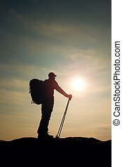 vista, point., estante, windcheater, deportivo, trecking, postes, rocoso, manos, turista