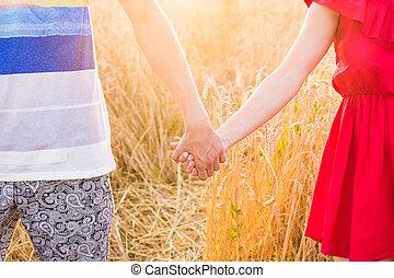 vista posteriore, di, bello, amore, mani titolo portafoglio coppia, fuori, sopra, uno, estate, campo, fondo., primo piano