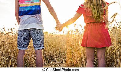 vista posteriore, di, bello, amore, mani titolo portafoglio coppia, fuori, sopra, uno, estate, campo, fondo