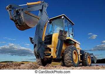 vista posteriore, di, caricatore, scavatore, con, rised, backhoe