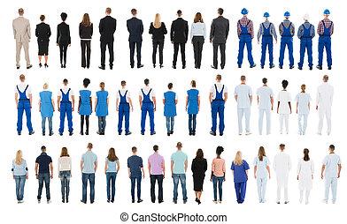 vista posteriore, di, persone, standing, in, fila