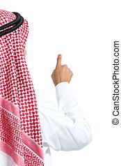 vista posteriore, di, un, arabo, saudita, emirati, uomo, selezione, aria