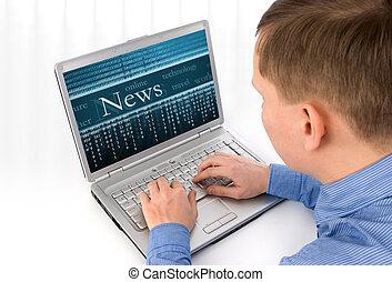 vista posteriore, di, uno, giovane, lavorativo, di, uno, laptop