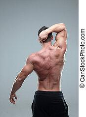 vista posteriore, di, uno, muscolare, uomo