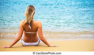 vista., praia., mulher, sentando