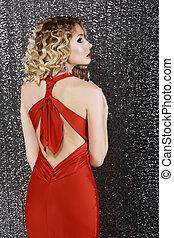 vista, prom, moda, mujer, rojo, elegance., dress., style., ...