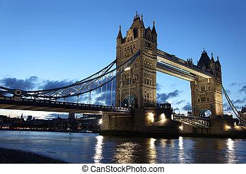 vista, puente, londres, hermoso, tarde, torre, reino unido, ...