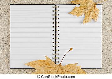 vista, quaderno, foglie, aperto, tavola, dorato, cima