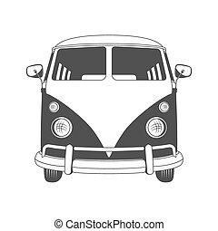 vista., retro, viaje, bus., frente