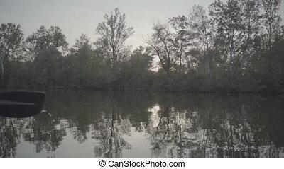vista, rio, vegetação, bote