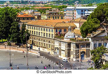 vista, roma, del, plaza, popolo