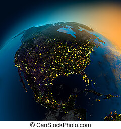 vista, satélite, américa, norte, noche