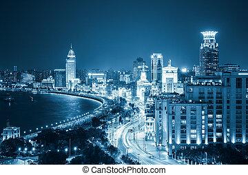 vista, shanghai, aéreo, bund, noche