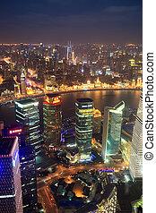 vista, shanghai, aéreo, noche