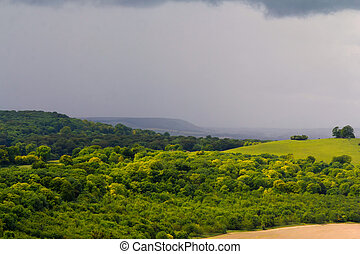 vista, sobre, a, chilterns, paisagem, em, buckinghamshire, inglaterra