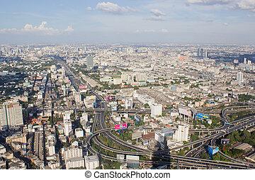 vista, sopra, città, di, bangkok