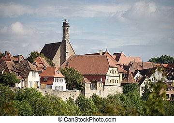 vista, sopra, città, di, rothenburg