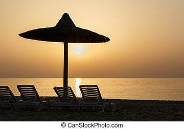 vista, su, alba, da, spiaggia