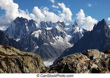 vista, su, alpi, da, il, bianco, lago, chamonix.