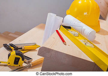 vista, su, set, di, lavorativo, attrezzi, su, passi, di, scala legno