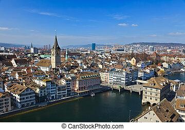 vista, su, zurigo, svizzera