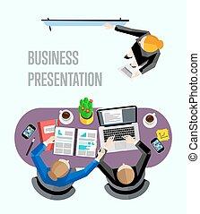 vista superior, apresentação, negócio, banner.