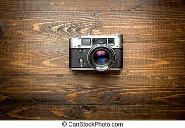 vista superior, de, antigas, câmera, ligado, madeira, fundo
