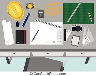 vista superior, de, arquiteta, e, engenheiro, desk., trabalhando, espaço, com, em branco, papel, para, text., fundo, design.