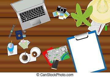 vista superior, de, feriado, planificação, ajudas, ligado, um, tabela madeira