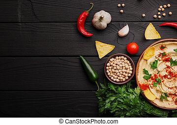 vista superior, de, hummus, ingredients., amarela, hummus, e, lascas, ligado, um, madeira, experiência., hummus, preparação, concept., cópia, space.