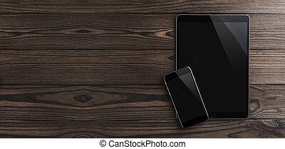 vista superior, de, tablete digital, e, telefone móvel, ligado, marrom, desk., modernos, dispositivos, espaço cópia
