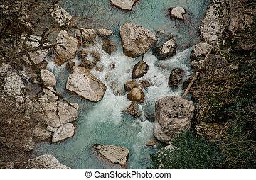 vista superior, de, um, bonito, azure, rio, em, geórgia