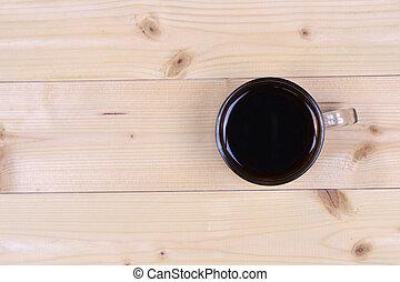 vista superior, de, um, xícara café preto, ligado, tabela madeira