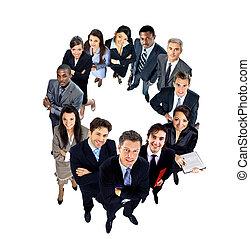 vista superior, grupo, pessoas negócio