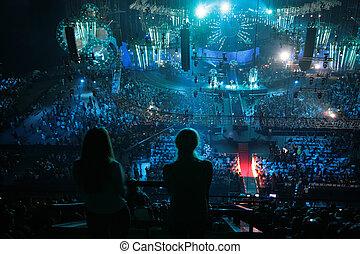 vista superior, ligado, concert salão