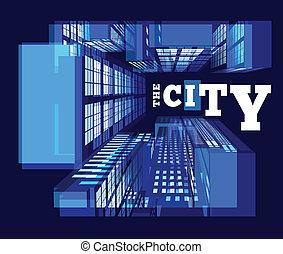 vista superiore, city., notte