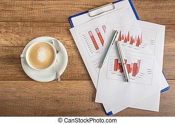 vista superiore, di, affari, statistico, relazione annuale, di, profitto, e, reddito