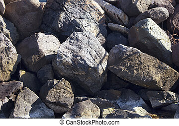vista superiore, di, grande, grigio, pietre, (stones), a, egeo, spiaggia, in, bodrum, città, sudoccidentale, turkey.