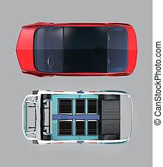 vista superiore, di, macchina rossa, e, corpo, cornice