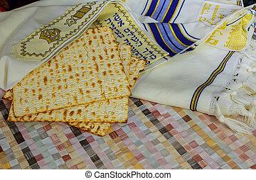vista superiore, di, passover, fondo., matzoh, festa ebrea, bread