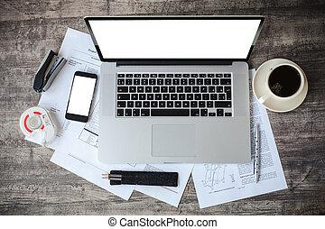 vista superiore, di, posto lavoro, con, laptop, e, documenti