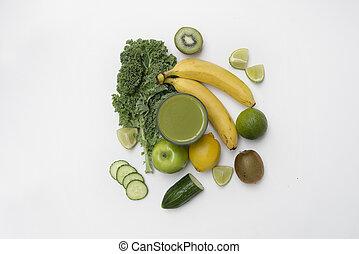 vista superiore, di, uno, sano, smoothie, fatto, con, frutta veg