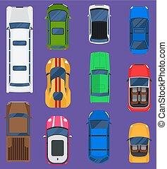 vista superiore, differente, automobili, veicolo, set, isolato, su, fondo., automobile, vista superiore, automobile, vettore, da corsa, tassì, camion, transport., ruota, autovettura, vista superiore, trasporto, traffico, strada, furgone, roof.