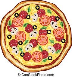vista superiore, grande, pizza