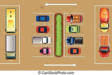 vista superiore, lotto, parcheggio