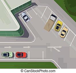 vista superiore, parcheggio